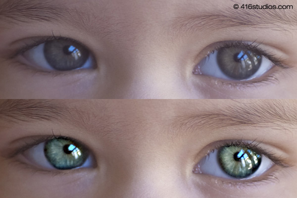 眼睛前和圖像銳化後的Photoshop教程