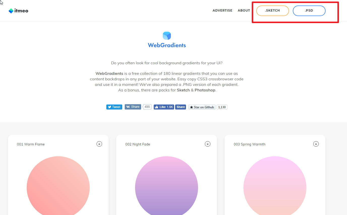 【渐层色票】itmeo 史上最美180种渐层配色网站 / AI、PS渐层配色素材