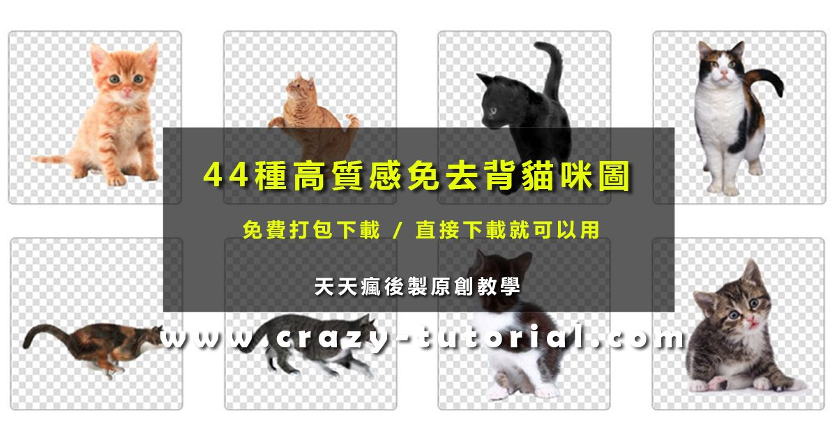 [ 貓咪素材 ] 44種免去背貓咪圖庫免費打包下載 / 貓咪PNG素材圖案