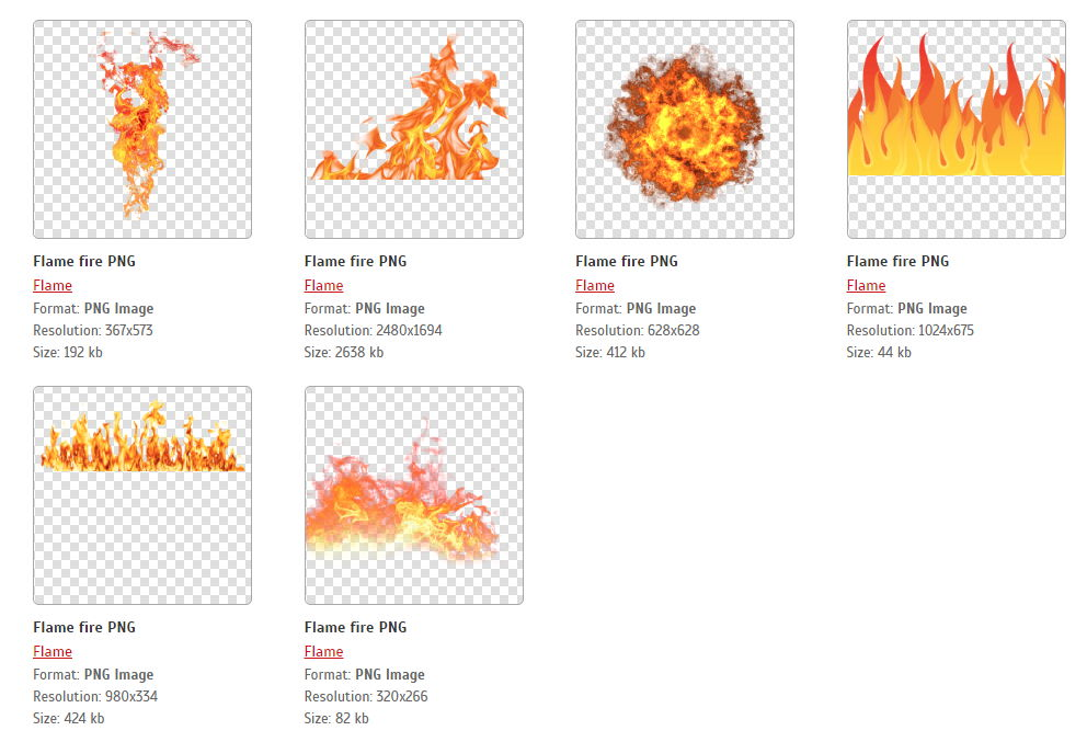 【火焰素材】100种免去背火焰素材图案,火焰PNG图案免费下载。