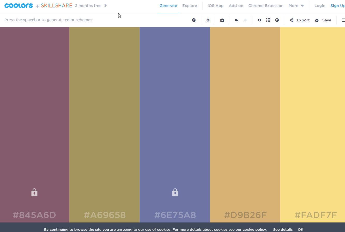 【线上配色表】设计师Coolors 线上配色表工具,CMYK色票配色表