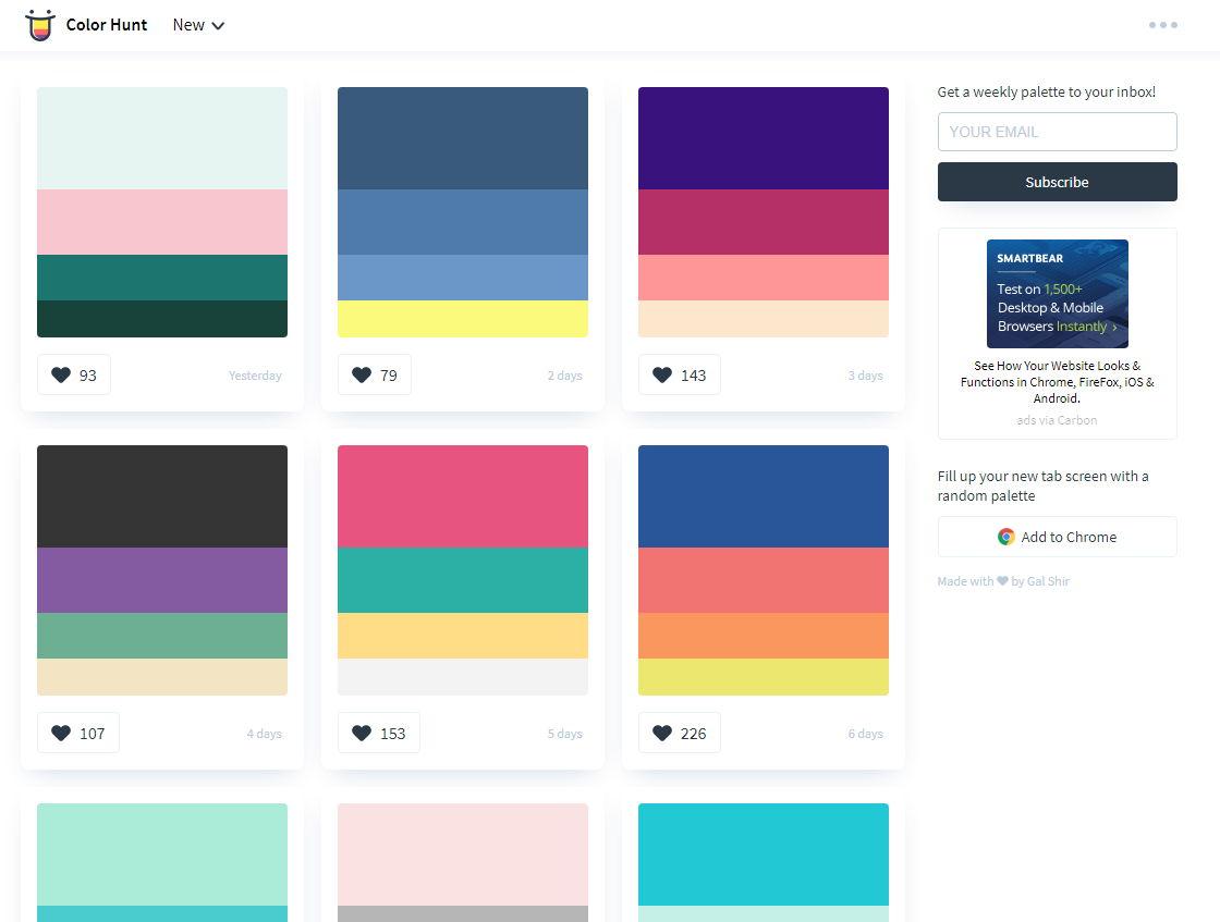 【颜色搭配】专业版Colorhunt 线上颜色搭配网站 ,最佳色彩搭配工具