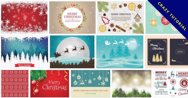 【聖誕節圖案】180套 Illustrator聖誕節圖案下載,聖誕卡片封面推薦