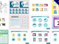 【月曆版型】86套專業版Illustrator月曆範本下載