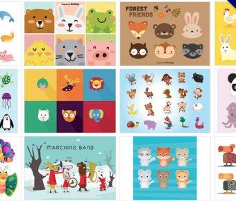 【動物圖庫】75套 Illustrator 可愛卡通動物AI檔免費下載