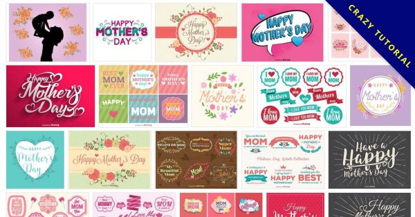 【母親節圖案】135套 Illustrator 母親節卡片圖案免費下載