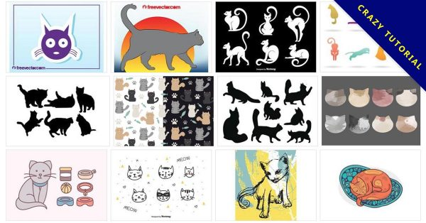 【貓向量圖】84種Illustrator 貓咪向量圖AI檔下載