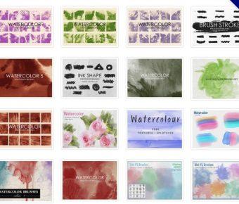 【噴墨筆刷】44套專業版Photoshop 水彩噴墨筆刷免費下載