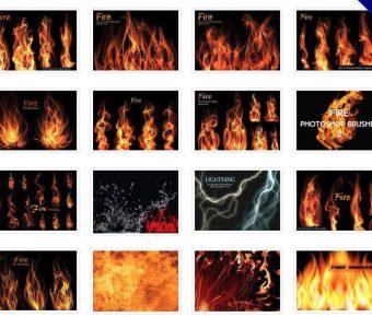 【火焰筆刷】40套專業版Photoshop火焰筆刷免費下載