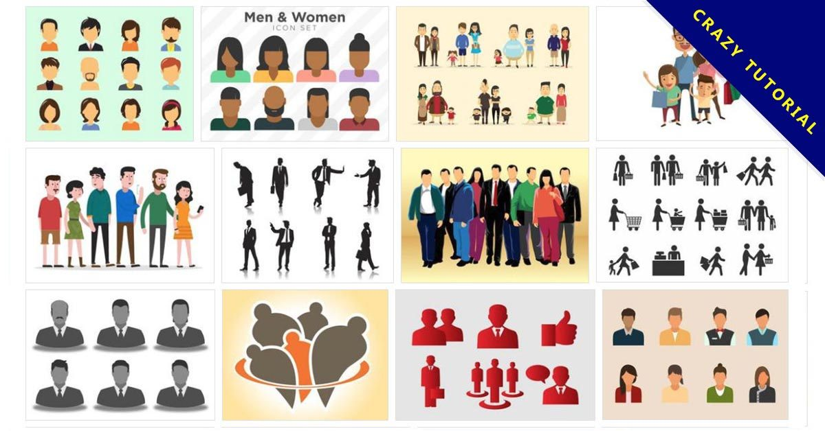 [ 人物圖庫 ] 135套illustrator卡通人物圖案 / 卡通人物素材 / 免費人物圖庫