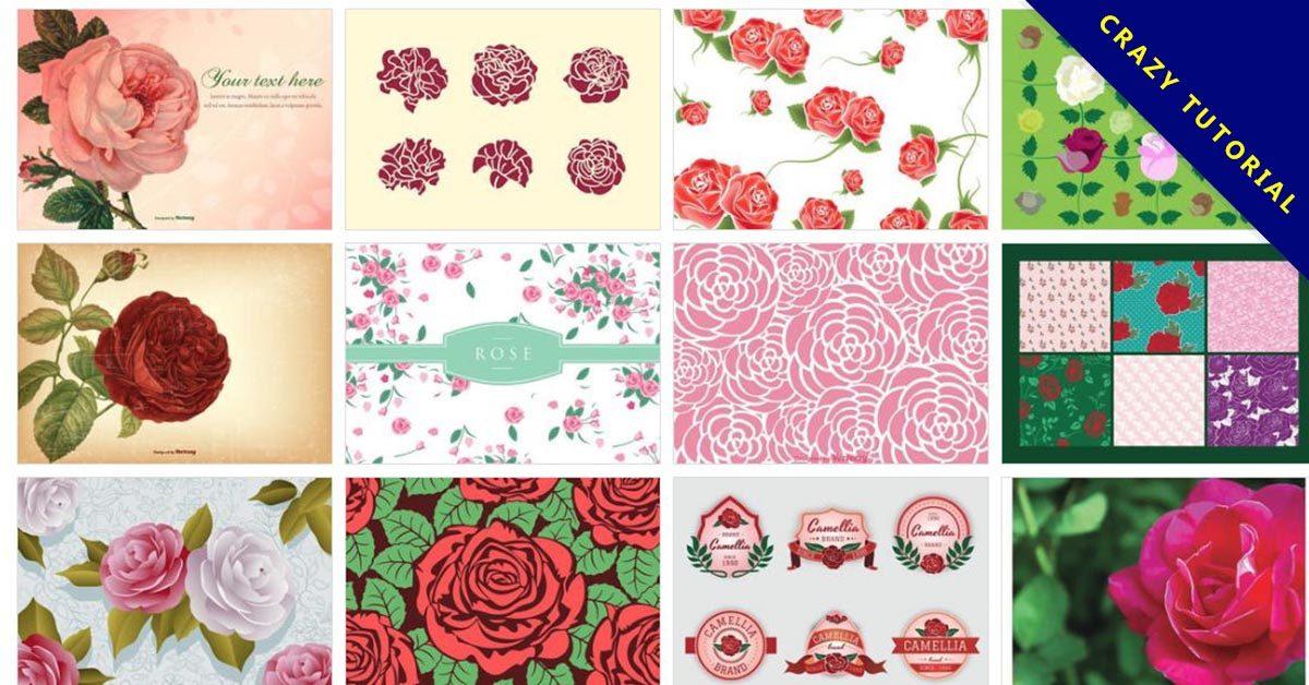 【玫瑰花桌布】70套illustrator 玫瑰花圖案素材下載,玫瑰圖騰推薦款
