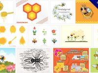 [ 蜜蜂圖案 ]  70套illustrator 卡通蜜蜂圖片下載 / 蜂蜜結晶圖案