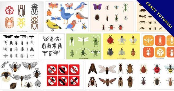 【昆蟲圖案】100套 illustrator 昆蟲圖案下載,Q版昆蟲推薦款
