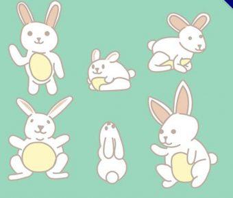 【兔子圖案】34套 Illustrator 兔子Q版圖下載,兔子插畫推薦款