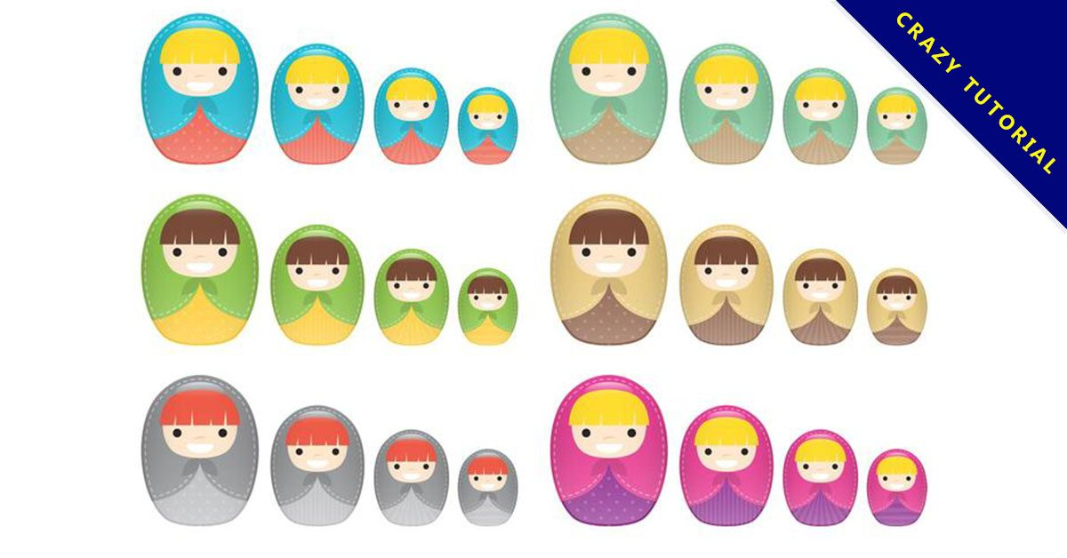 【娃娃圖案】35套 Illustrator 娃娃卡通圖下載,娃娃圖庫推薦款