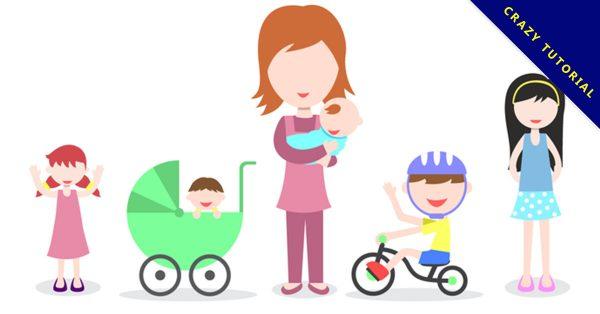 【媽媽卡通圖】34套 Illustrator 媽媽圖案下載,媽媽插圖推薦款