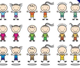 【小孩卡通】38套 Illustrator 小孩圖片下載,小孩剪影推薦款