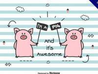 【小豬卡通圖】34套 Illustrator 小豬q版圖下載,小豬圖案推薦款