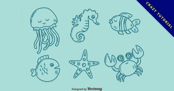 【海馬圖案】36套 Illustrator 海馬素材下載,海馬圖片推薦款