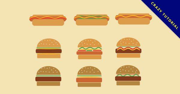 【漢堡圖案】35套 Illustrator 漢堡插圖下載,漢堡圖片推薦款