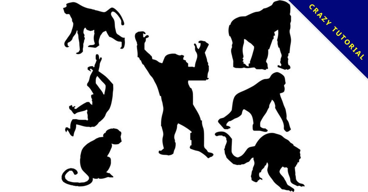 【猩猩卡通圖】38套 Illustrator 猩猩圖片下載,猩猩圖案推薦款