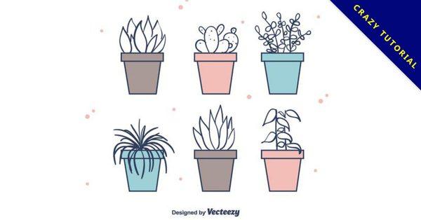 【盆栽圖片】36套 Illustrator 盆栽圖案下載,盆栽素材推薦款