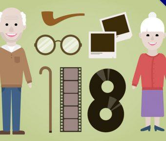 【老人卡通圖】32套 Illustrator 老人q版下載,老人素材推薦款