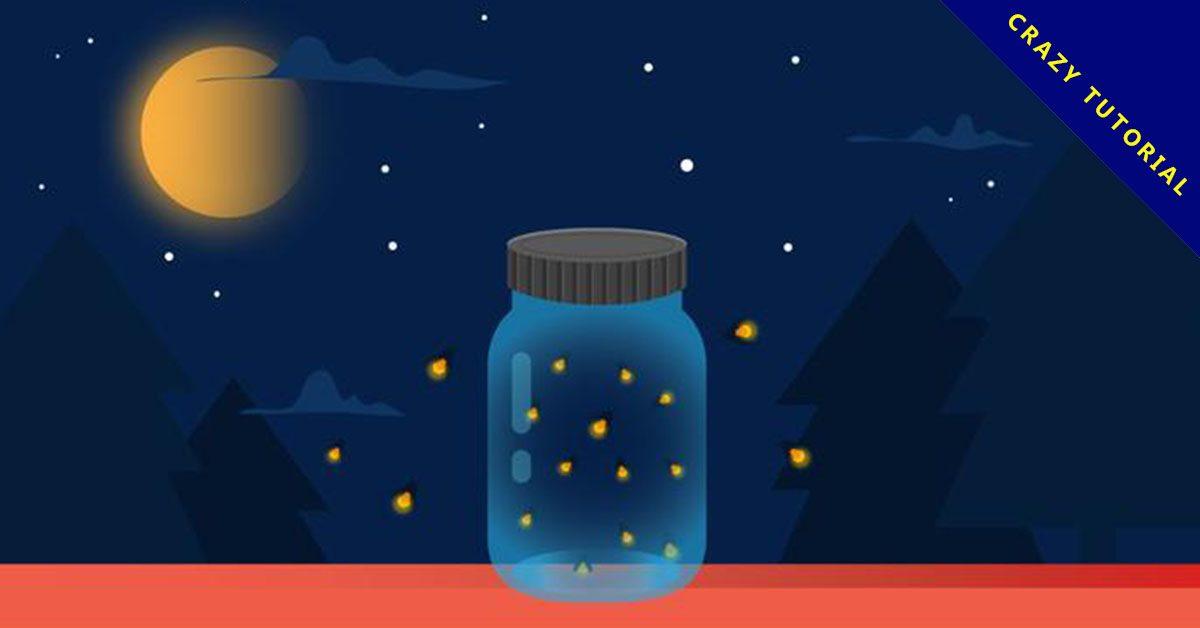【螢火蟲圖案】9套 Illustrator 螢火蟲圖片下載,螢火蟲素材推薦款