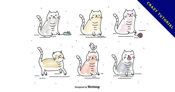 【貓咪q版圖】55套 Illustrator 貓咪圖案下載,貓咪插圖推薦款