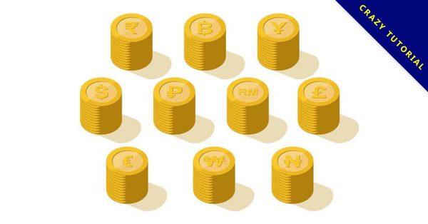【錢幣符號】27套 Illustrator 錢幣圖案下載,錢幣素材推薦款