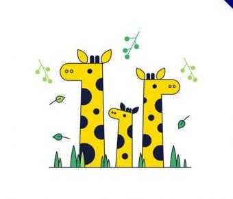 【長頸鹿卡通圖】34套 Illustrator 長頸鹿Q版圖下載,長頸鹿圖案推薦款