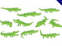 【鱷魚卡通圖】30套 Illustrator 鱷魚圖片下載,鱷魚圖案推薦款
