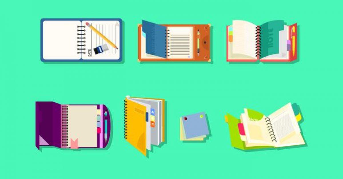 【筆記本素材】36套 Illustrator 筆記本圖片下載,筆記本圖案推薦款