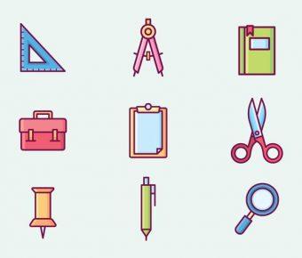 【文具素材】38套 Illustrator 文具圖片下載,文具插圖推薦款