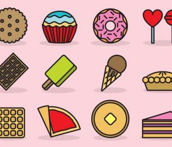 【甜點插畫】33套 Illustrator 甜點插圖下載,甜點logo推薦款