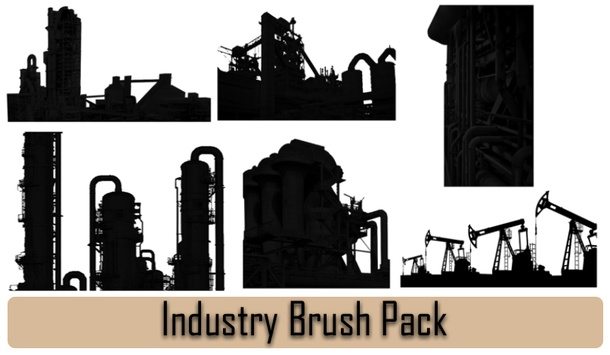 Industrial Buildings Silhouettes
