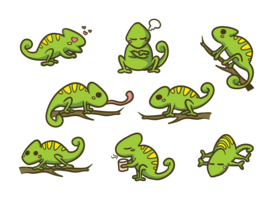 【蜥蜴卡通图案】34套 Illustrator 变色龙卡通图下载,蜥蜴图腾推荐款
