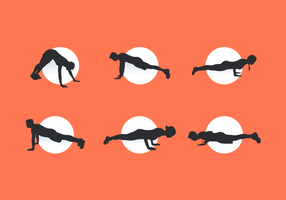 Pushup Man and Woman Silhouettes Free Vector Pack