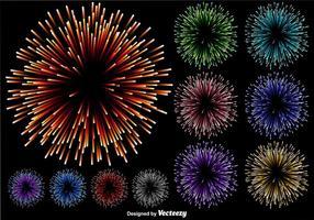 Vector Set Of Multicolored Firework Illustration On Black Background