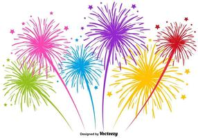 Vector Multicolored Firework Illustration