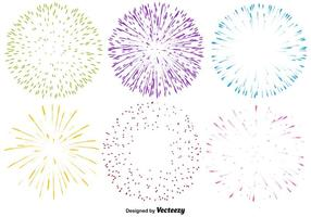 Vector Set Of Multicolored Firework Icons