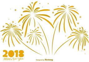 Elegant Background Of Golden Firework - Vector Elements