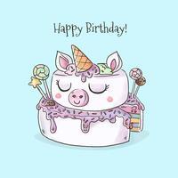 Watercolor Unicorn Birthday Cake Vector