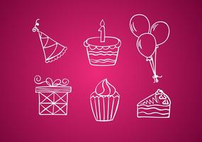 Birthday White Line Icons