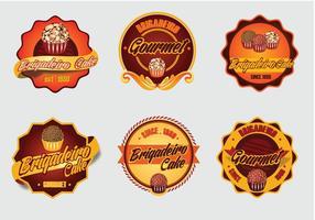 Brigadier dessert cake vector label logo