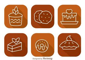 Cake Long Shadow Icons