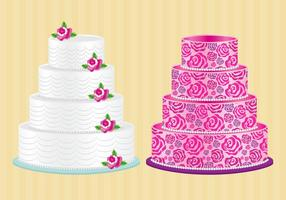 Cakes With Roses Vector