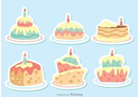 Colorful Vector Cartoon Birthday Cake Vectors Pack