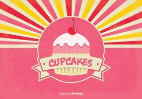 Cute Retro Style Cupcake Background Illustration