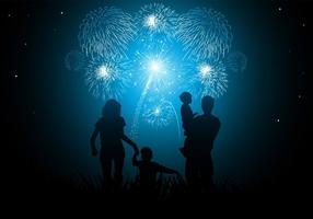 Family New Year Fireworks Vector Wallpaper